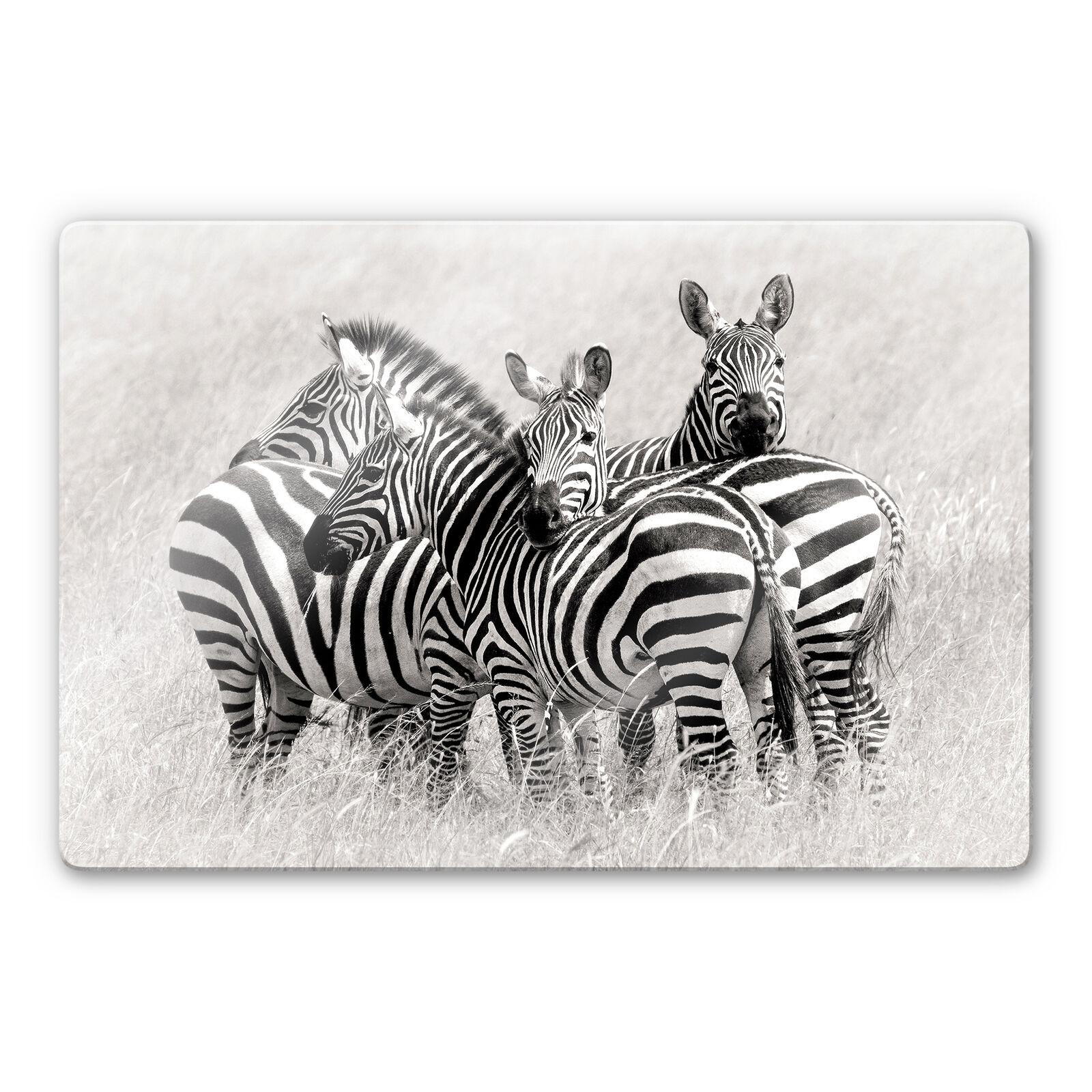 Glasbild Trubitsyn - Zebras in der Savanne WANDDEKO 4mm ESG Sicherheitsglas Deko