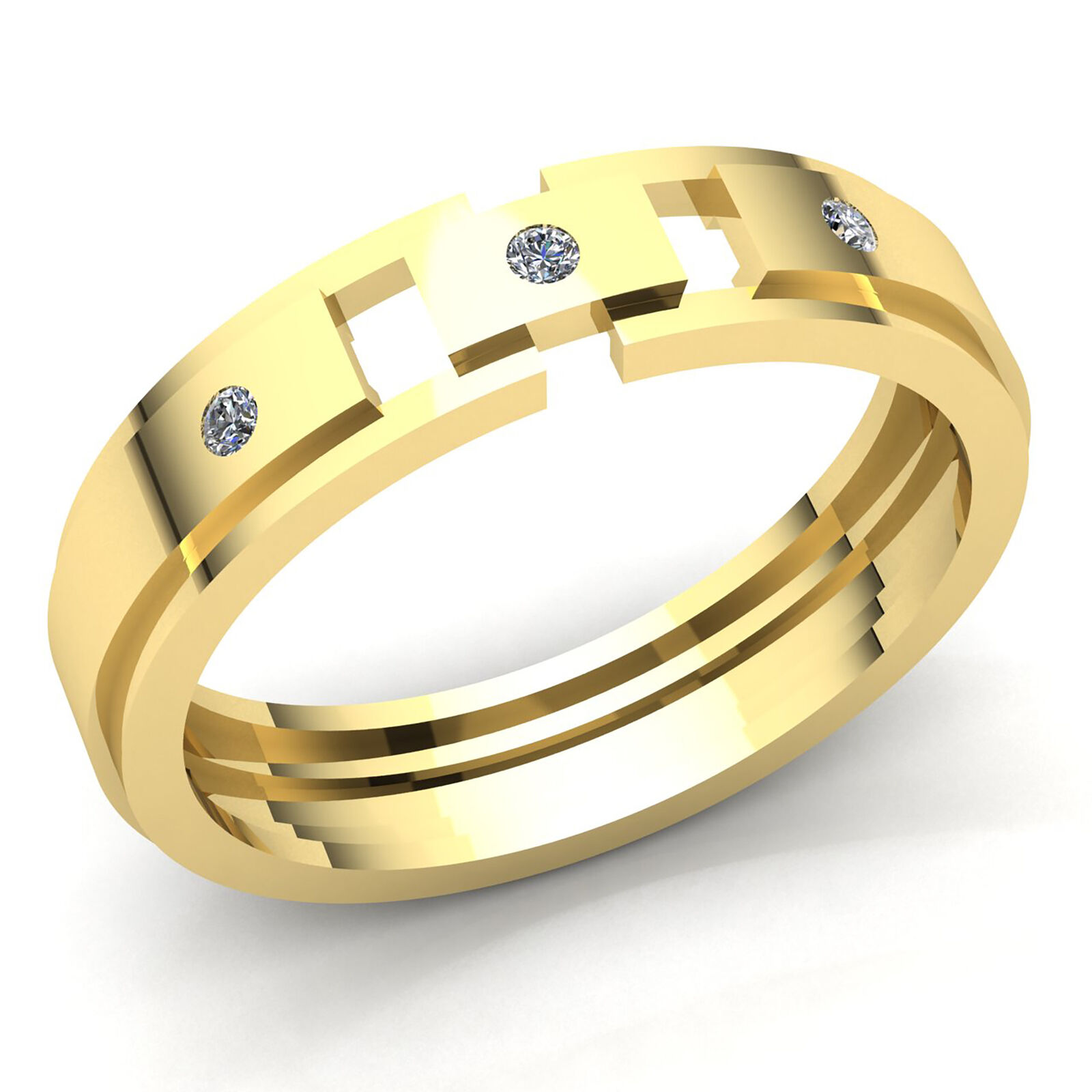 Natural 1ct Round Cut Diamond Mens Fancy 3Stone Engagement Ring 14K gold
