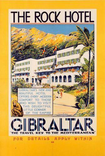 Vintage Rock Hotel Gibraltar Tourism Poster A3//A4