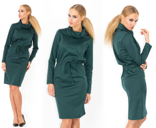 Ladies Elegant Shift Dress With Belt Long Sleeve Cowl Neck Tunic Size 8-14 FA348