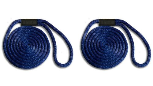 """NAVY BLUE Solid Braid Nylon Dock Line 1//2/"""" x 10/' 2-PACK! // Fade Proof // USA"""