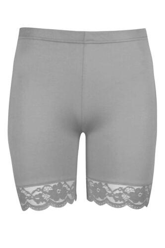 PLUS SIZE Donna Conchiglia Pizzo Palestra Ciclismo Hot Pants Pantaloncini Collant