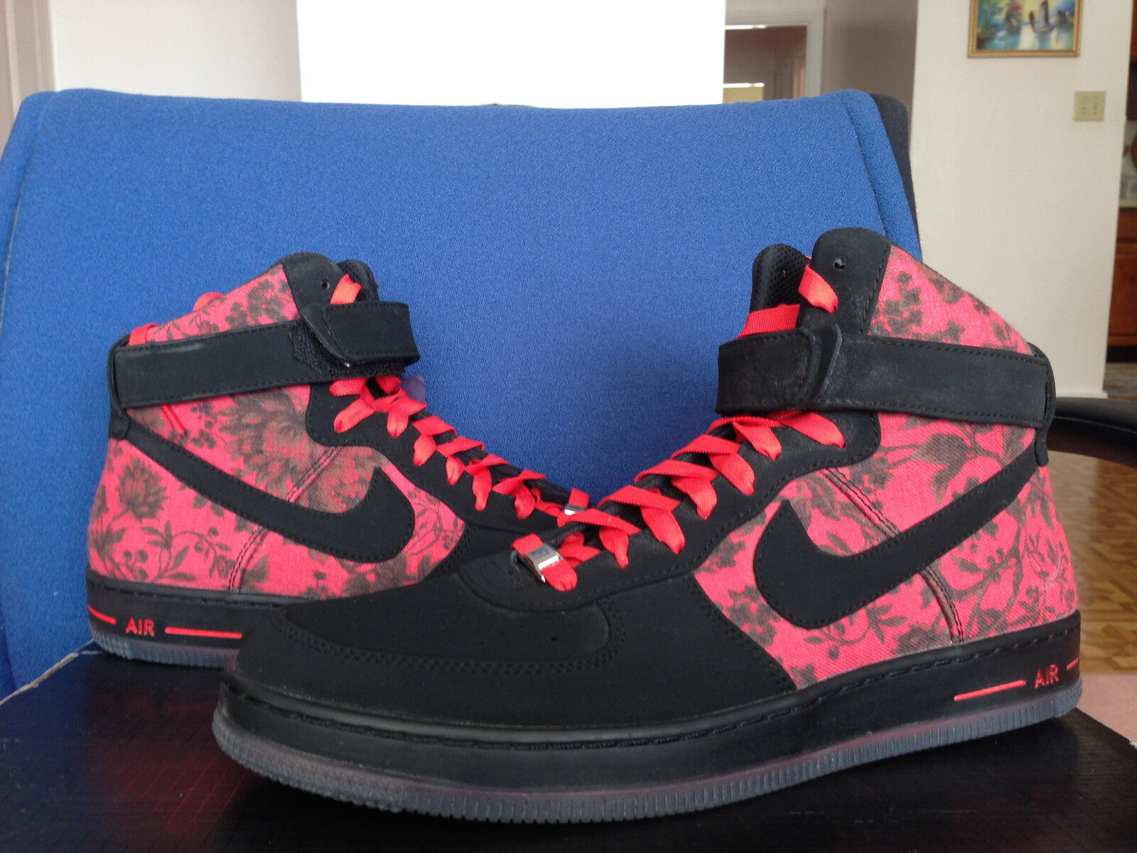 Nike Air Force 1 Floral QS Downtown Hi High Floral 1 Kd Rose Garden Black red Lillard 14 4e78fe