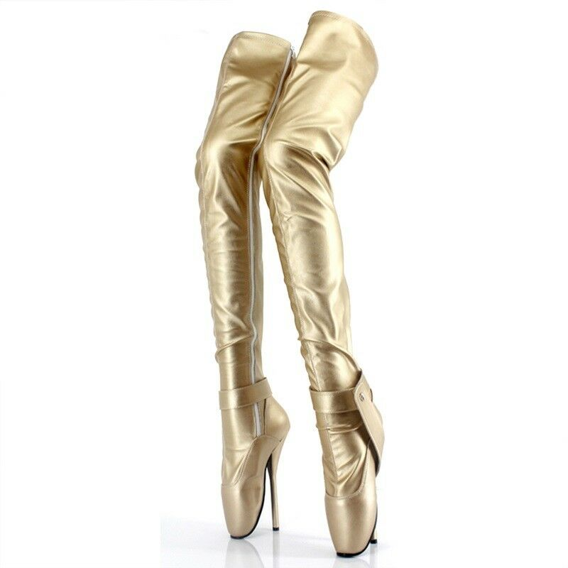 gold LOCKING THIGH High Ballet Boots LOCKING, high heals, sexy boot