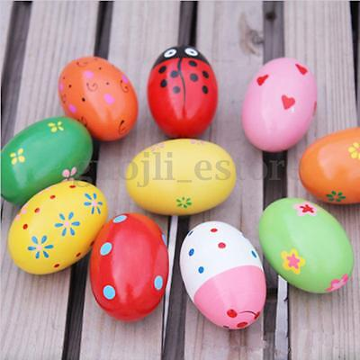 2/4Pcs Wooden Egg Maracas Music Shaker Instrument Rhythm Kids Baby Toy Gift New