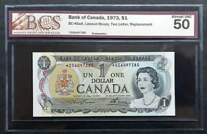 1973-Bank-of-Canada-1-Replacement-Note-OG6497385-BCS-AU-50-Original-BC-46aA