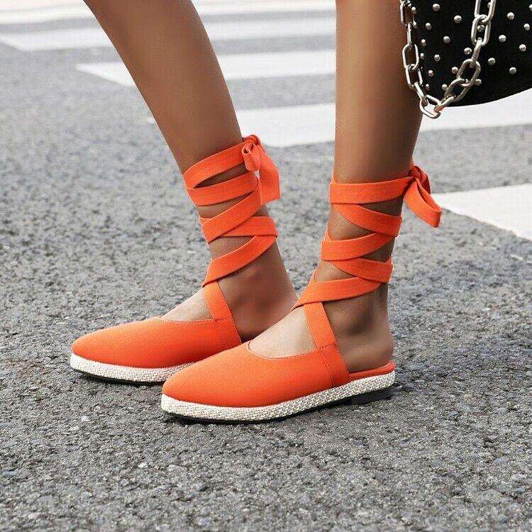 Femmes Summer Bandage Sandales Femme à Lacets Lanière Slingback flats shoes SZ