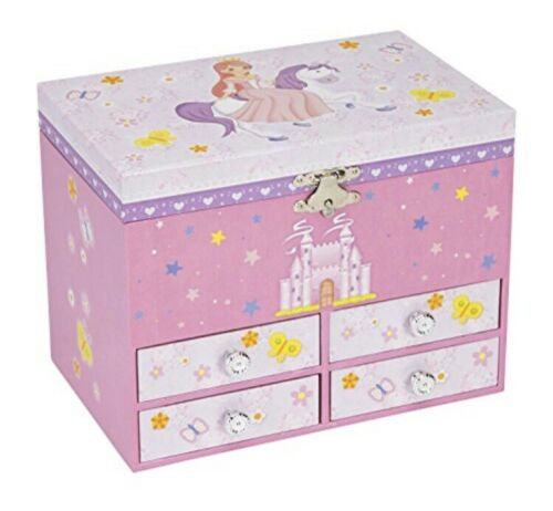 Large Princess On Unicorn W// Castle Musical Jewelry Storage Box W// 4 Drawers