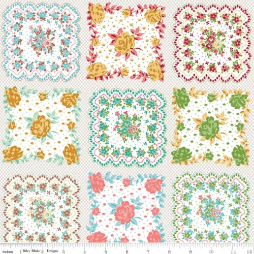 Granny Chic Handkerchief Fabric Lori Holt Riley Blake Vintage Pink Blue Green