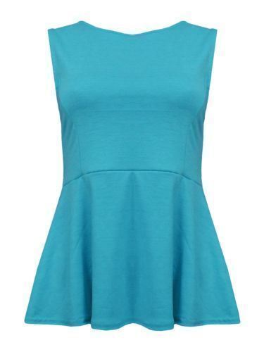 Womens Flared Frill Peplum Top Ladies Fancy Sleeveless Skater Peplum Top Shirt