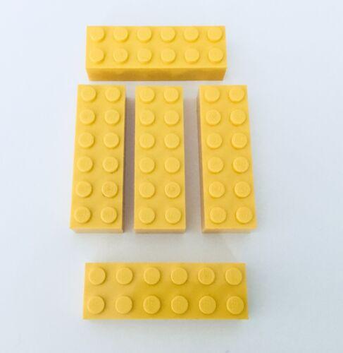 Lot of 5 Bricks 4554 9784 8421 60076 Lego YELLOW BRICK 2 x 6