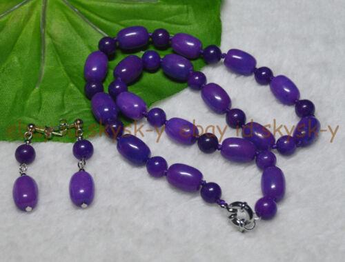 """Violet 10x14MM Afrique Sugilite Pierres Précieuses Perles Collier 18/"""" Boucles d/'oreilles Set AAA"""
