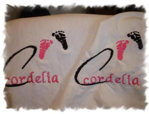 Lil Feet Monogram Personalized Baby Toddler Blanket /& Bib Combo Set Girl