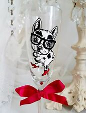 Personalised Hand Painted Champagne Flute PUG dog birthday gift birthday 30th 40
