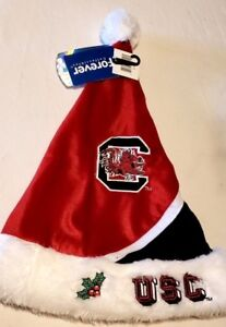 USC-Gamecocks-Santa-Hat-Garnet-Black-White-Plush-Holiday-Forever-Collectible-New