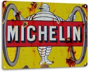 Michelin Service Tire Services Garage Shop Retro Logo Decor Large Metal Tin Sign