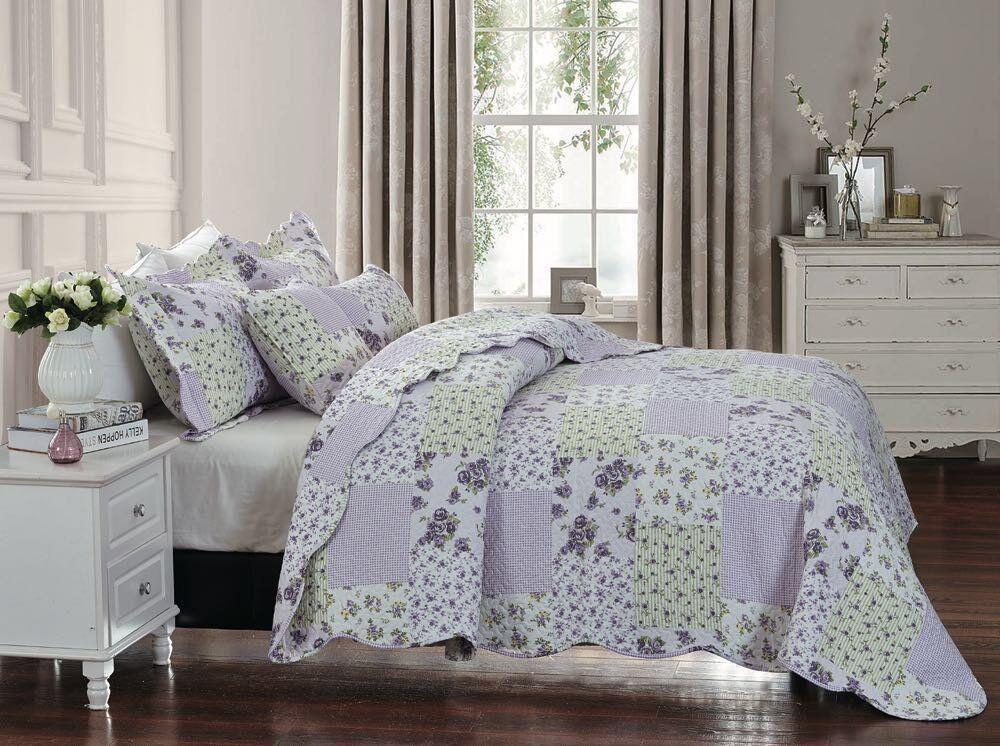 Luxury Vintage Patchwork King Größe Bedspread Comforter & Pillow Shams 235x255cm