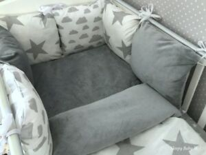 Baby Girl Sleepy Baby J/&J Pink and grey stars Cot bumper set