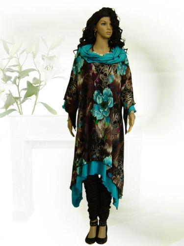 PoCo DeSiGn LAGENLOOK Tunika Long-Shirt Kleid türkis L-XL-XXL-XXXL 46 48-50-58