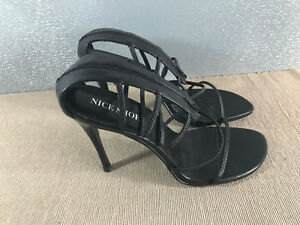 BNWOT-Ladies-Size-Euro-39-Nice-Shoe-Brand-Black-Strappy-ankle-High-Heel-Shoes