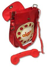 LADY GAGA RED TELEPHONE LEATHER HAND BAG PURSE WITH CELL PHONE HAND SET