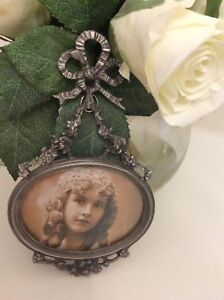 NEW shabby barbola swags silver tone Bow Top Picture Frame wedding roses