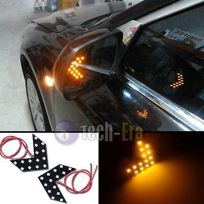 2pcs Amber Yellow 14-SMD LED Arrow Panels for Car Side Mirror Turn Signal Lights
