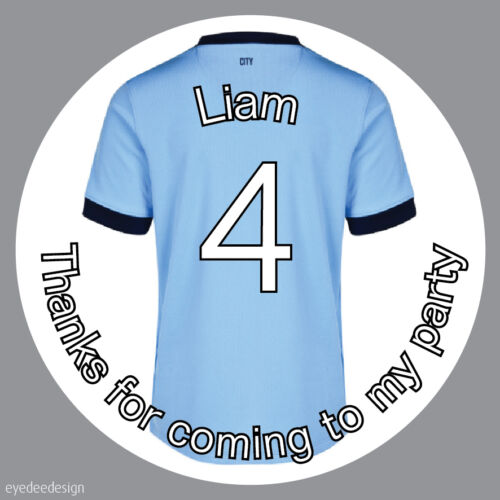 N453 Personalised Light Blue Football Shirt Top Birthday Stickers Party Cake