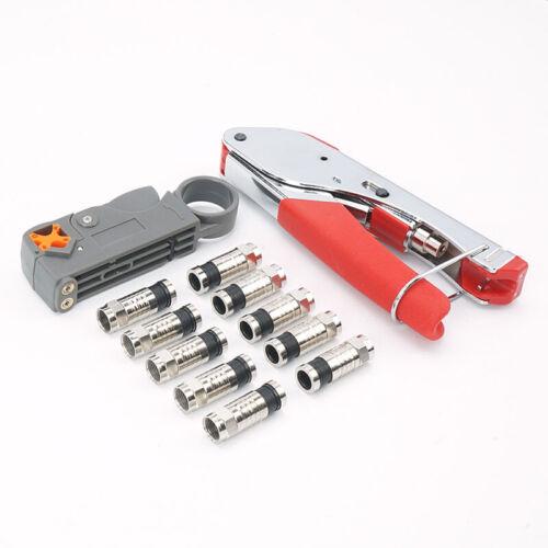 Werkzeug Koaxialkabel Crimper Abisolierzange Draht 1 Satz F-Steckverbinder