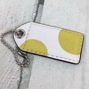 Coach-Hang-Tag-FOB-Pebble-Leather-Two-Tone-White-Yellow