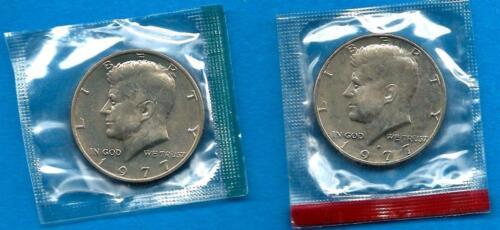 2 COINS SET 1977-P /& D UNCIRCULATED KENNEDY  HALF DOLLARS
