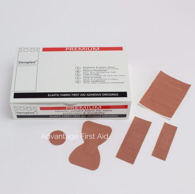 Premium Elastic Fabric First Aid Sticking Plasters: 5 Assorted Sizes (100)