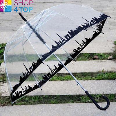 UMBRELLA PARASOL SKYLINE PARIS TOWN CITY TRANSPARENT CLEAR DOME RAIN WOMEN NEW