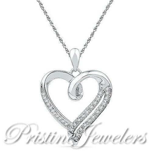 New 925 Sterling Silver Heart Necklace White CZ Love Pendant /& Chain Women Pave