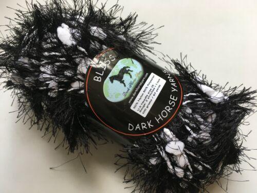 Dark Horse Yarns Bliss #501 White Night Fancy Fur White on Black Eyelash 100gr