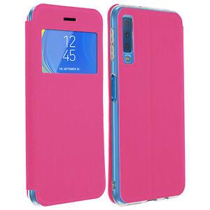 Custodia-FLIP-FINESTRA-Custodia-Flip-Portafoglio-con-Supporto-per-Samsung-Galaxy-A7-2018-Rosa