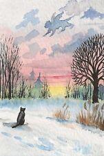 LE #1 4X6 POSTCARD RYTA WINTER LANDSCAPE BLACK CAT CLOUD WATERCOLOR FOLK ART
