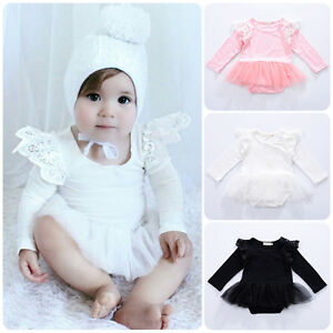 1e7484c740c Newborn Baby Girl Winter Long Sleeve Romper Jumpsuit Bodysuit Tutu ...