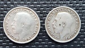 2 ANTIQUE THREE PENCE SOLID SILVER KING GEORGE 1914 1916IN GOOD CONDITION - London, United Kingdom - 2 ANTIQUE THREE PENCE SOLID SILVER KING GEORGE 1914 1916IN GOOD CONDITION - London, United Kingdom