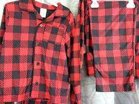 Boy Pajama Set 100% Polyester 4/5, 6/7 Boys Red Check Plaid Faded Glory