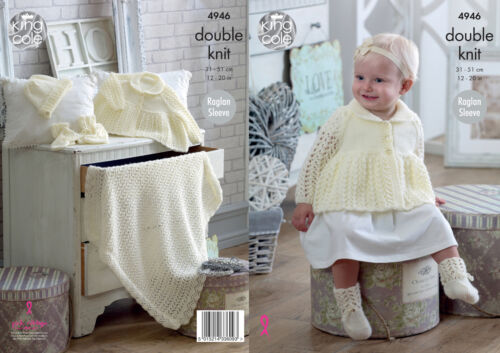 King Cole Baby Double Knitting Pattern Jacket Hat Mittens Bootees Blanket 4946