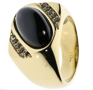 Ovale Onyx Noir Zircone Accents Thérapeutique 18k or Revêtement jcfrSQTv-09153605-170128259