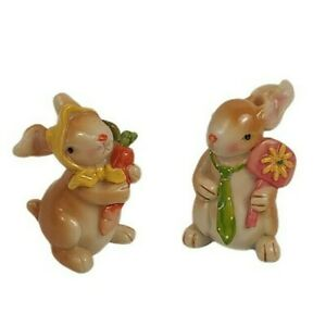 Adorable Colorful Bunny Rabbit Figurines Spring Garden Shiny Resin Easter Decor