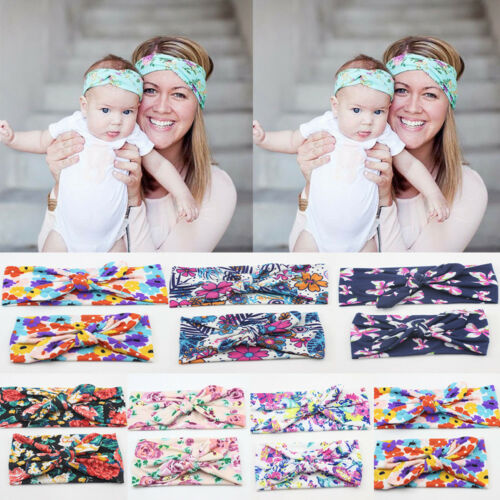 2Pcs Mother /& Child Headband Women Baby Kids Girls Bow Hair Band Accessories Set