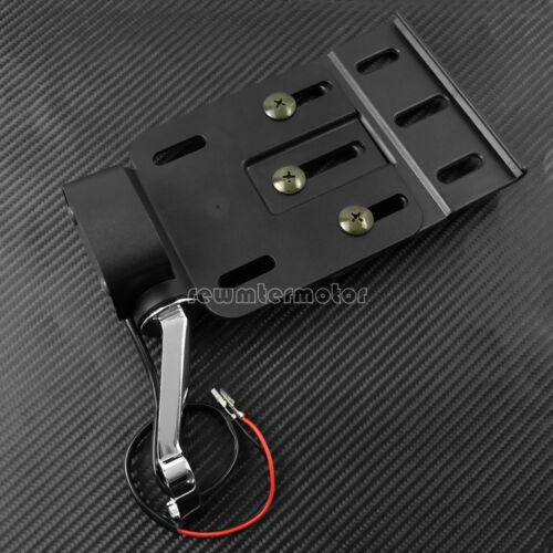 Folding LED Light Side Mount License Plate Bracket Chrome Arm Fit For Sportster