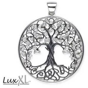 Echt-LuxXL-Lebensbaum-Anhaenger-925er-Silber-Schwarz-Rhodiniert-Neu