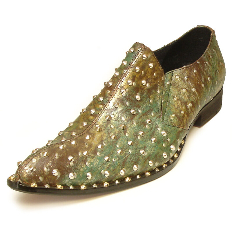 FI-7011 Green Genuine Leather Fully Studded Pointed toe Slip on Loafer