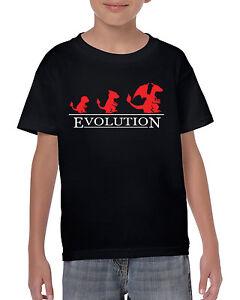 Evolution-de-Charmander-Inspire-Pokemon-Gym-Joueur-Jeux-Enfants-Enfant-T-Shirt