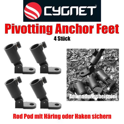 4 Stück Cygnet Pivotting Anchor Feet Rod Pod Sicherung Karpfenangeln