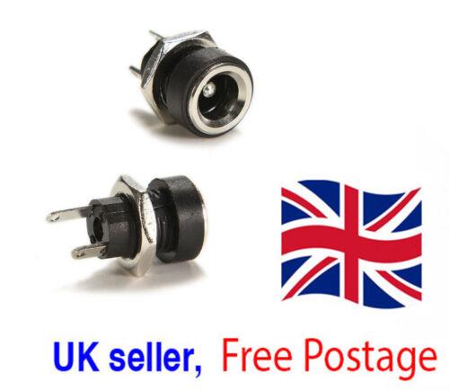 Fuente de alimentación DC Jack Socket Hembra Conector de montaje del panel 5.5 X 2.1mm vendedor del Reino Unido *